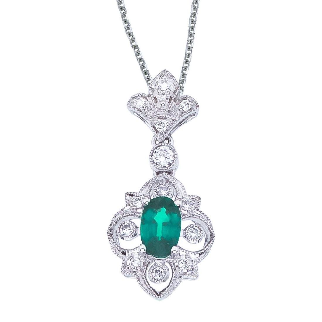 Certified 14k White Gold Emerald and Diamond Fleur De L