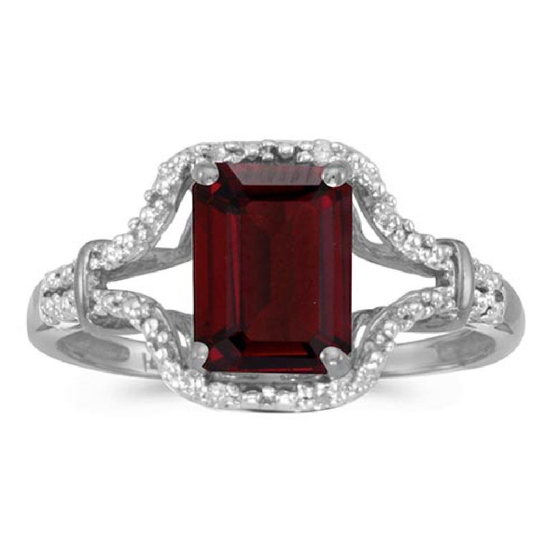 Certified 10k White Gold Emerald-cut Garnet And Diamond