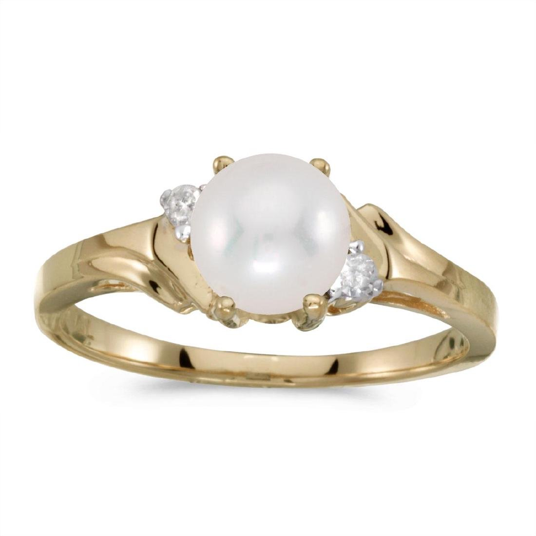 Certified 14k Yellow Gold Pearl And Diamond Ring 0.04 C