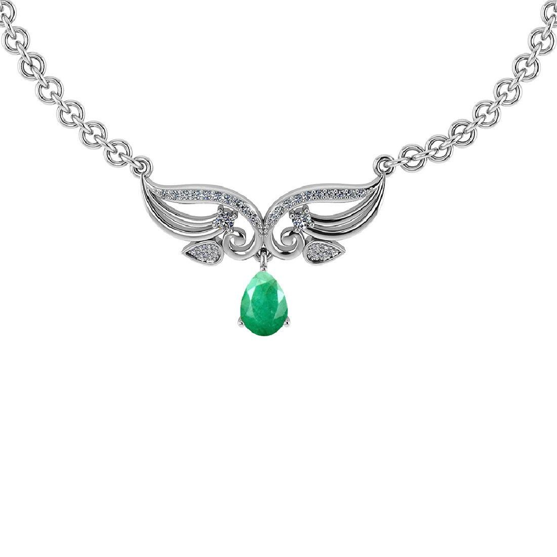Certified 3.94 CTW Genuine Emerald And Diamond 14k Whit