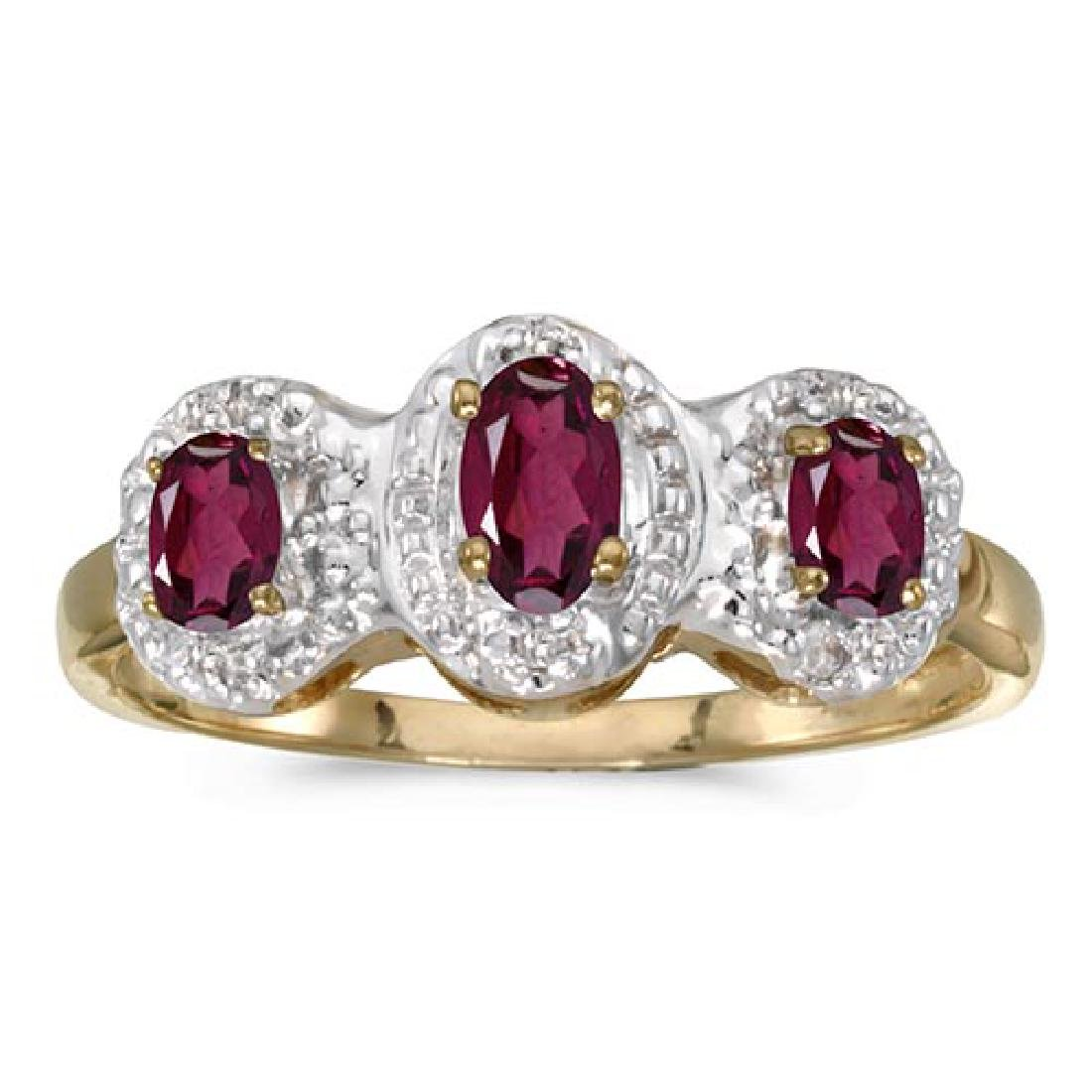 Certified 14k Yellow Gold Oval Rhodolite Garnet And Dia
