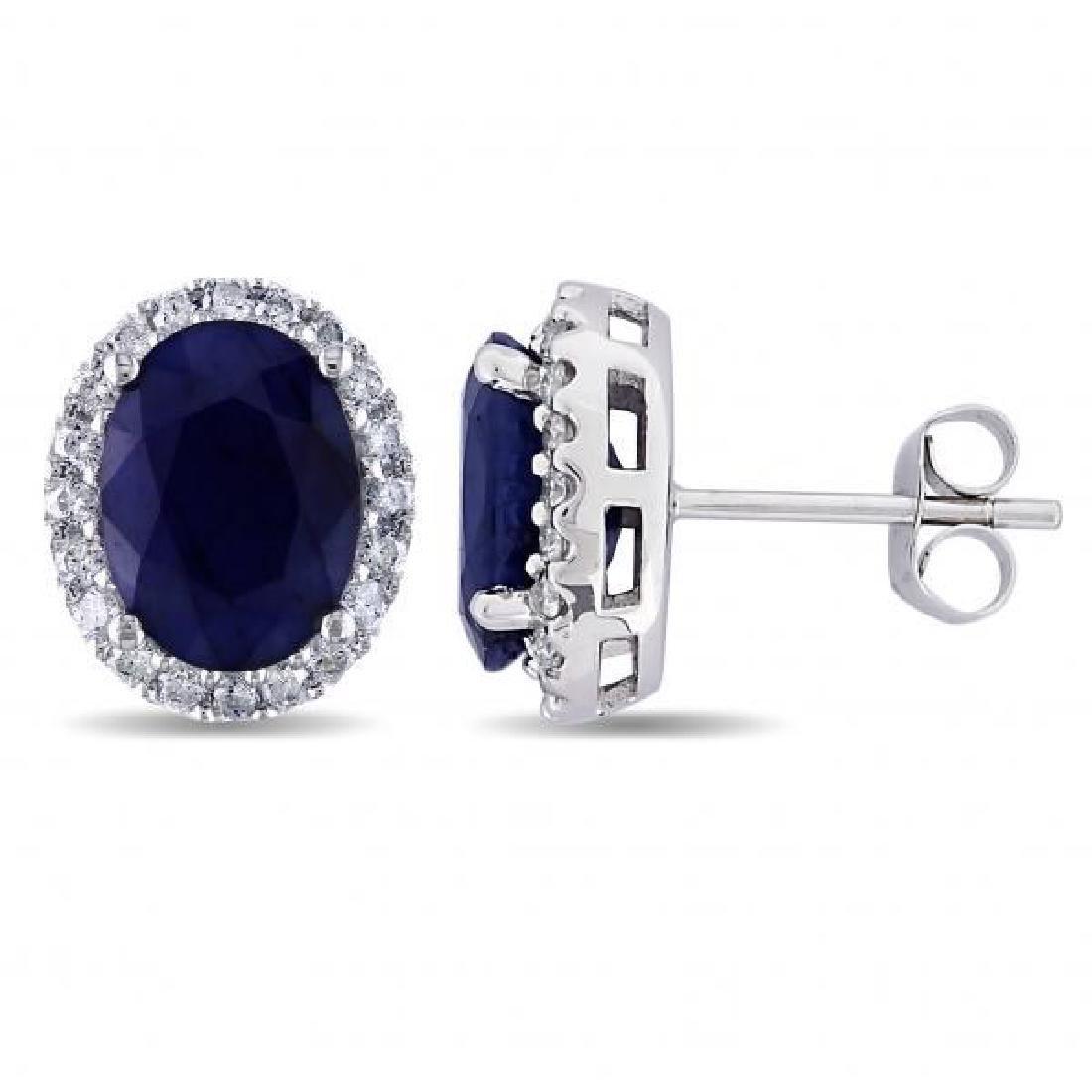 Oval Blue Sapphire and Halo Diamond Stud Earrings 14k W