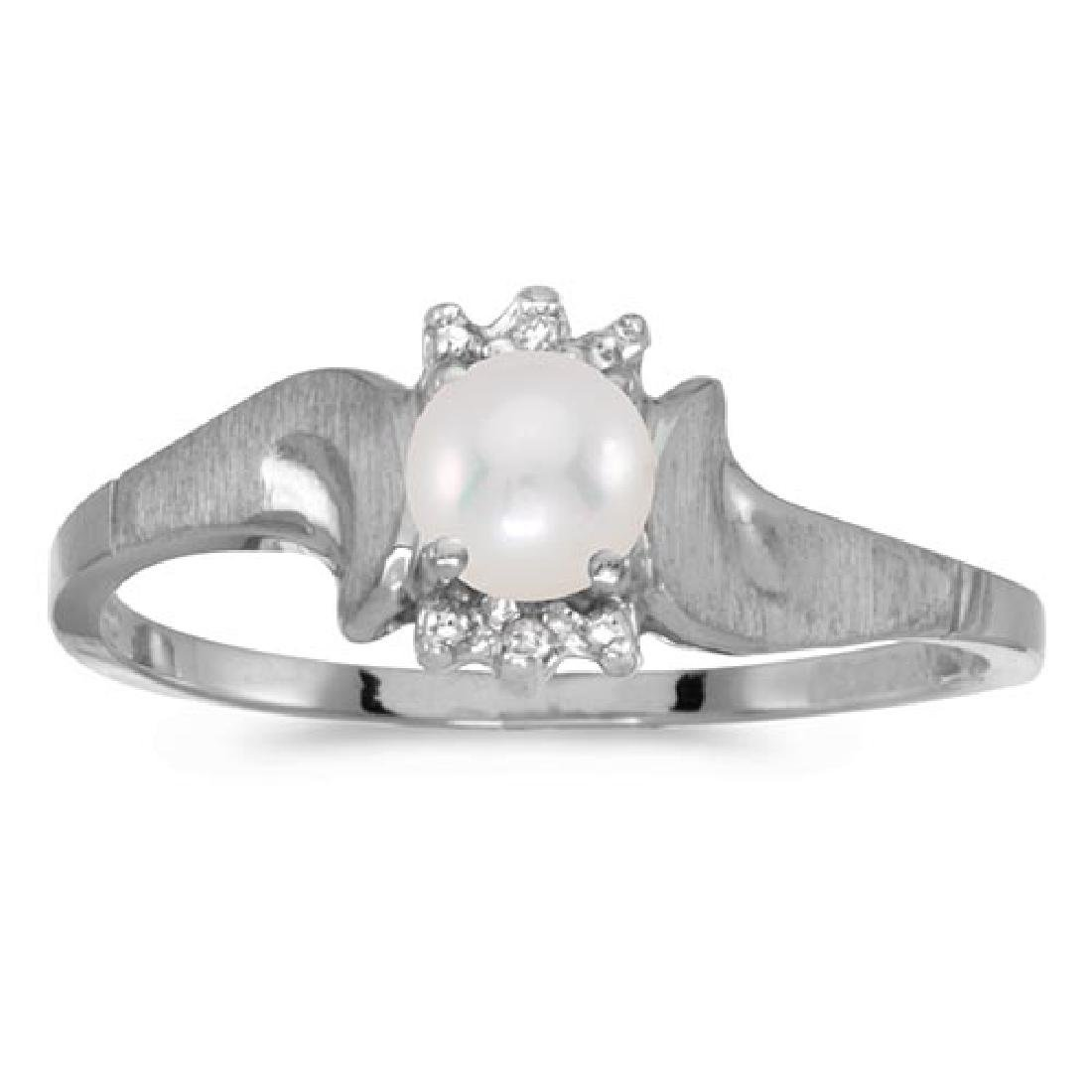 Certified 10k White Gold Pearl And Diamond Satin Finish