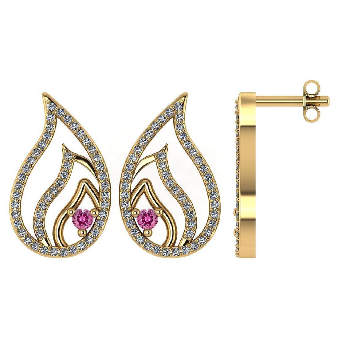 Certified .30 CTW Genuine Pink Tourmaline And Diamond 1