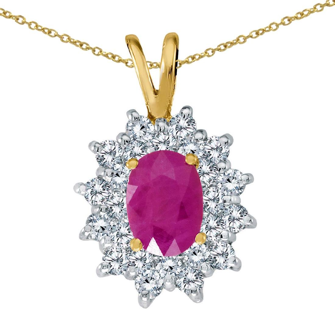 Certified 14k Yellow Gold Ruby Oval Pendant with Diamon