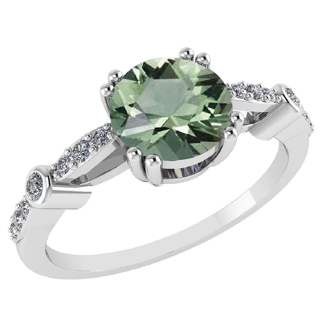 Certified .88 Ctw Genuine Green Amethyst And Diamond 14