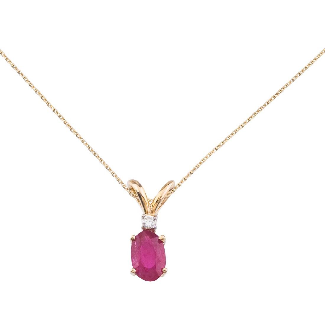 Certified 14k Yellow Gold Ruby and Diamond Oval Pendant