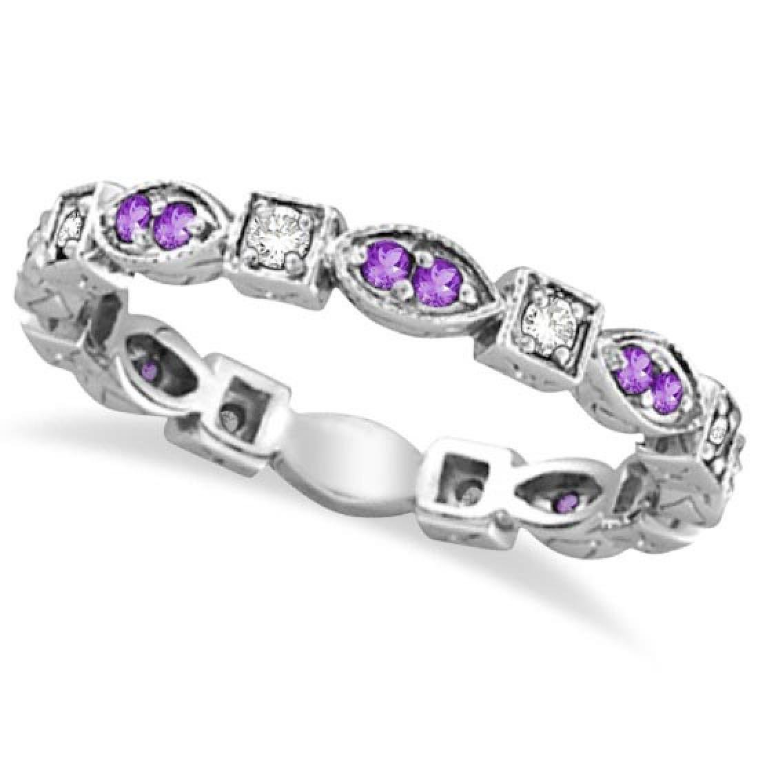 Amethyst and Diamond Eternity Anniversary Ring Band 14k
