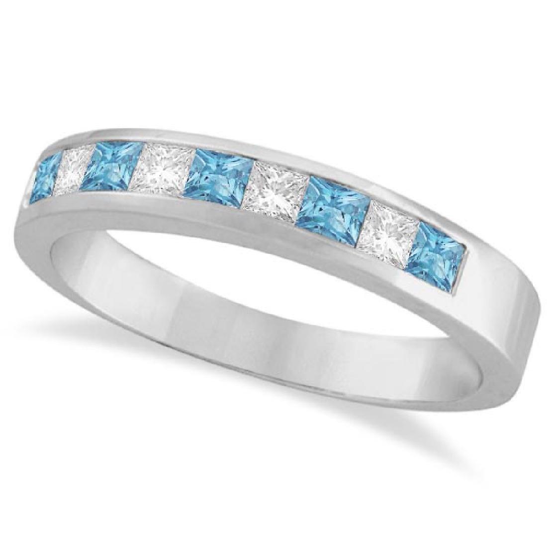 Princess Channel-Set Diamond and Aquamarine Ring Band 1