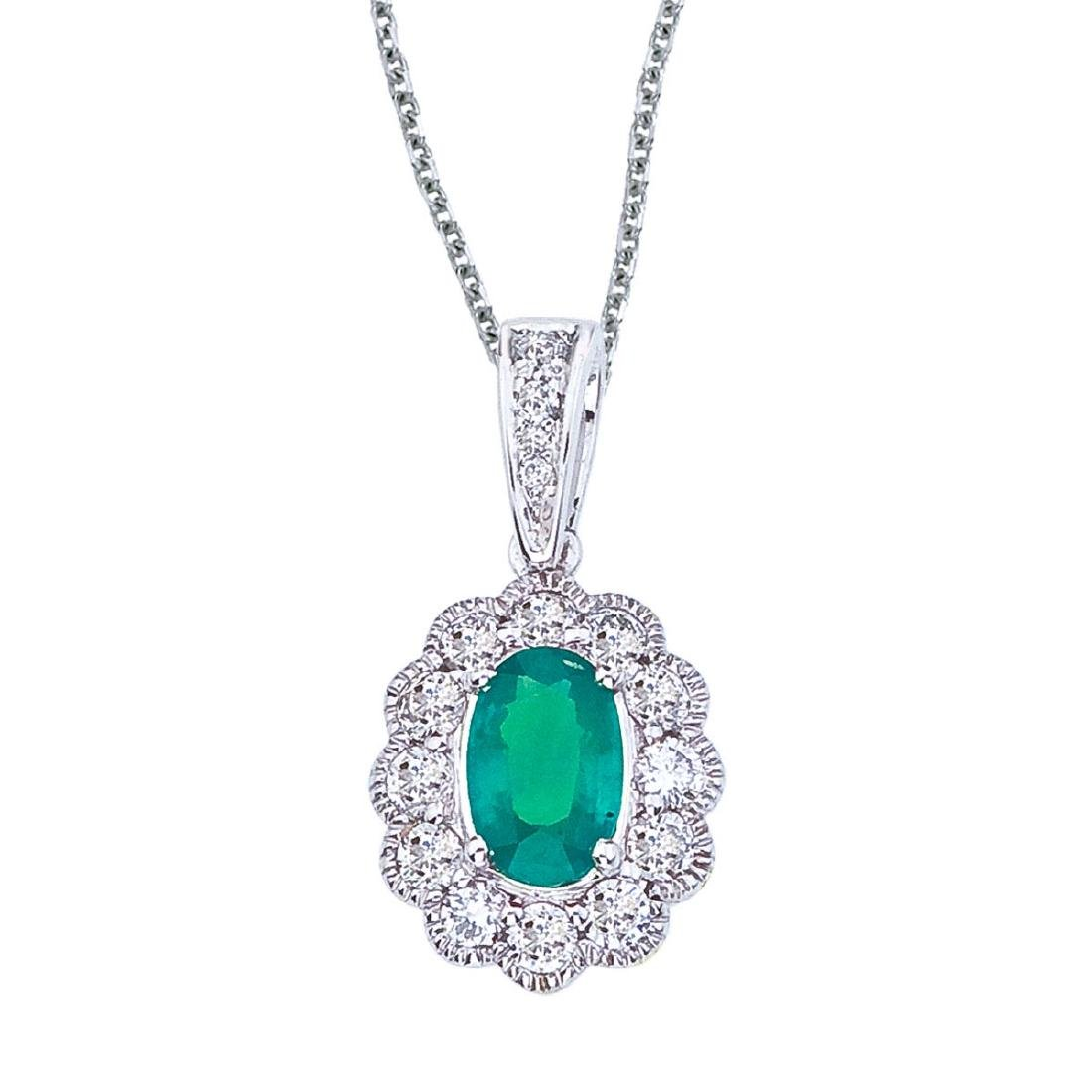 Certified 14k White Gold Emerald and Diamond Oval Penda