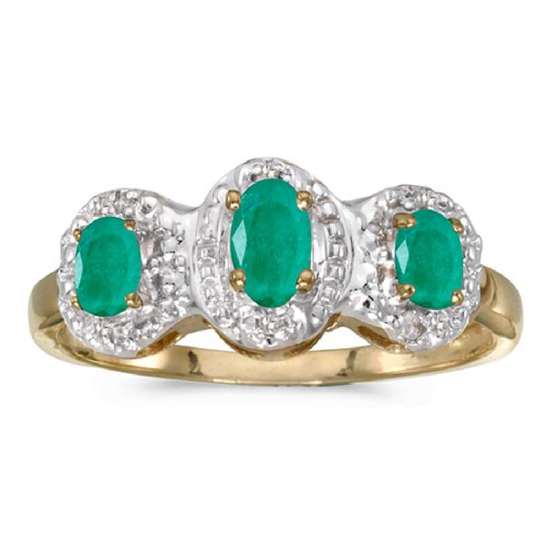 Certified 14k Yellow Gold Oval Emerald And Diamond Thre