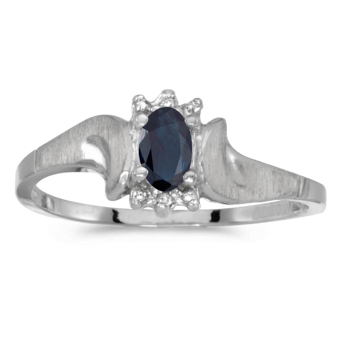 Certified 14k White Gold Oval Sapphire And Diamond Sati