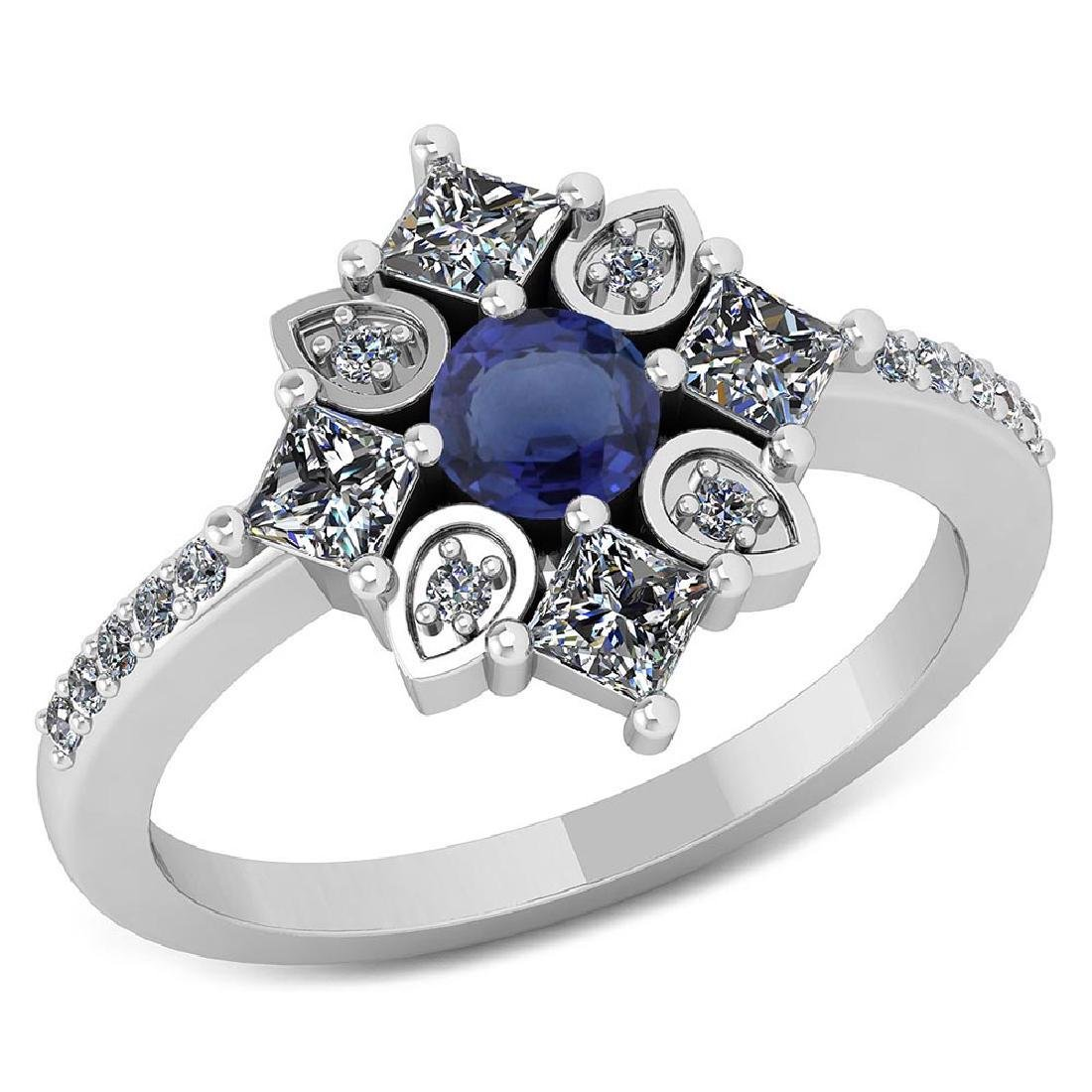 Certified .54 CTW Genuine Blue Sapphire And Diamond 14K