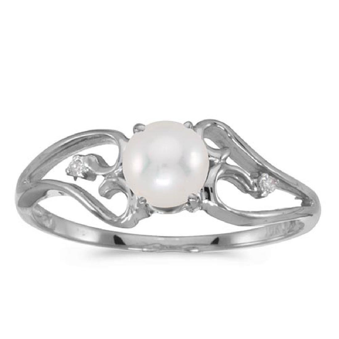 Certified 10k White Gold Pearl And Diamond Ring