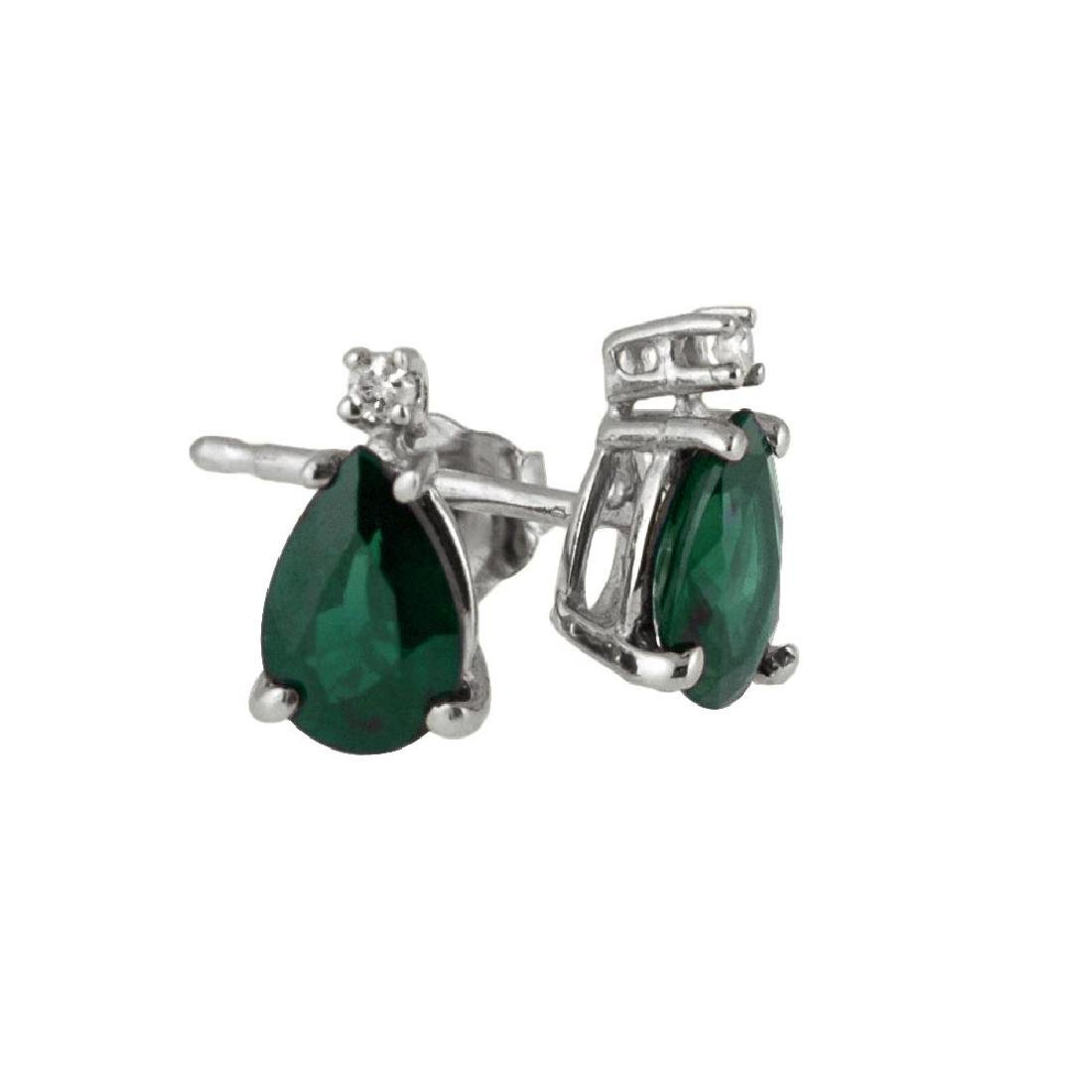 Certified 14k White Gold Pear Shaped Emerald And Diamon