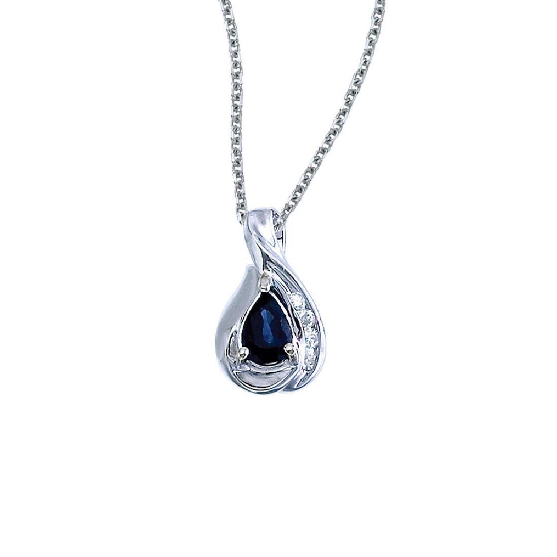 Certified 14k White Gold Pear Sapphire and Diamond Pend