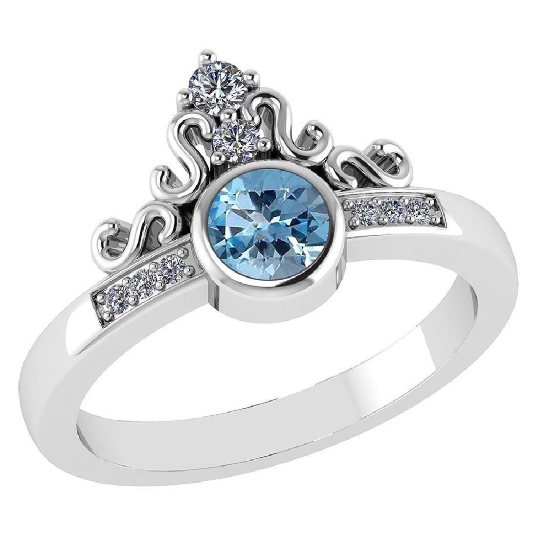 Certified .81 CTW Genuine Aquamarine And Diamond 14K Wh