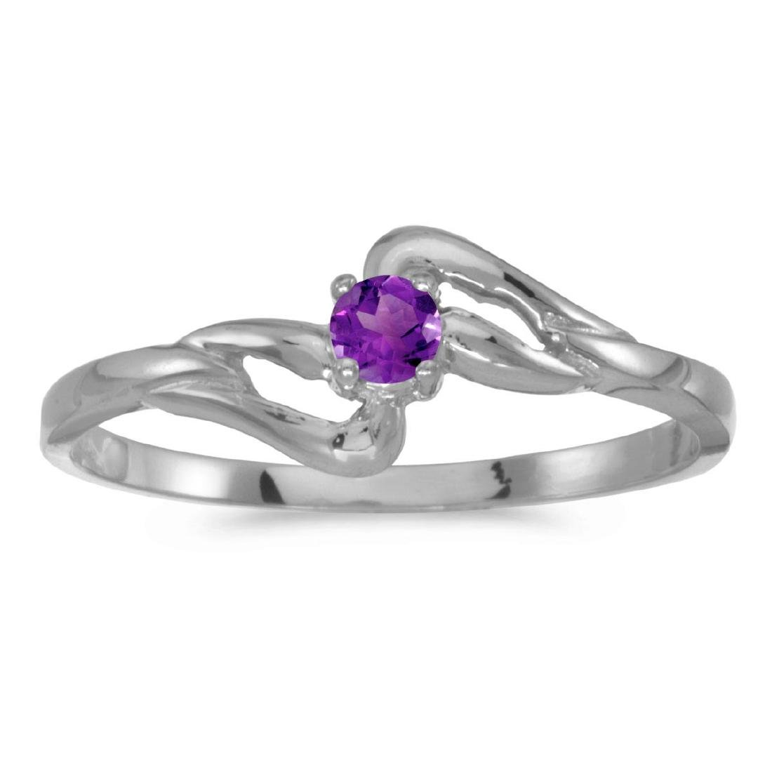 Certified 14k White Gold Round Amethyst Ring 0.08 CTW