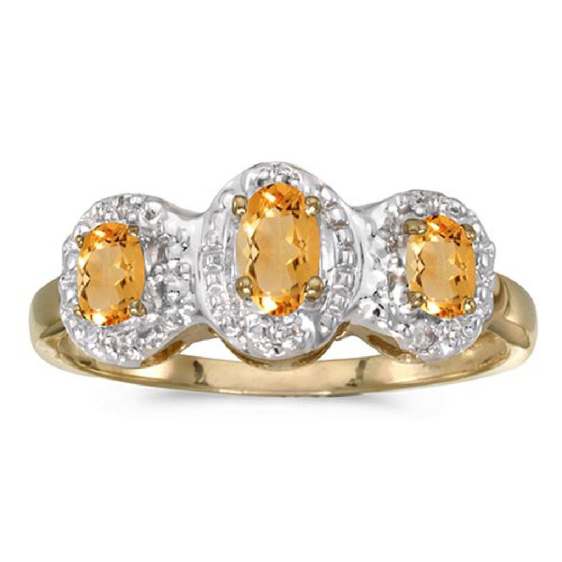 Certified 14k Yellow Gold Oval Citrine And Diamond Thre