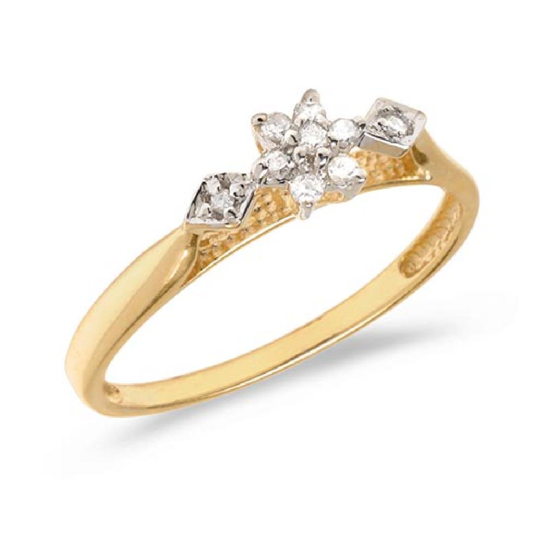 Certified 14K Yellow Gold Diamond Cluster Ring