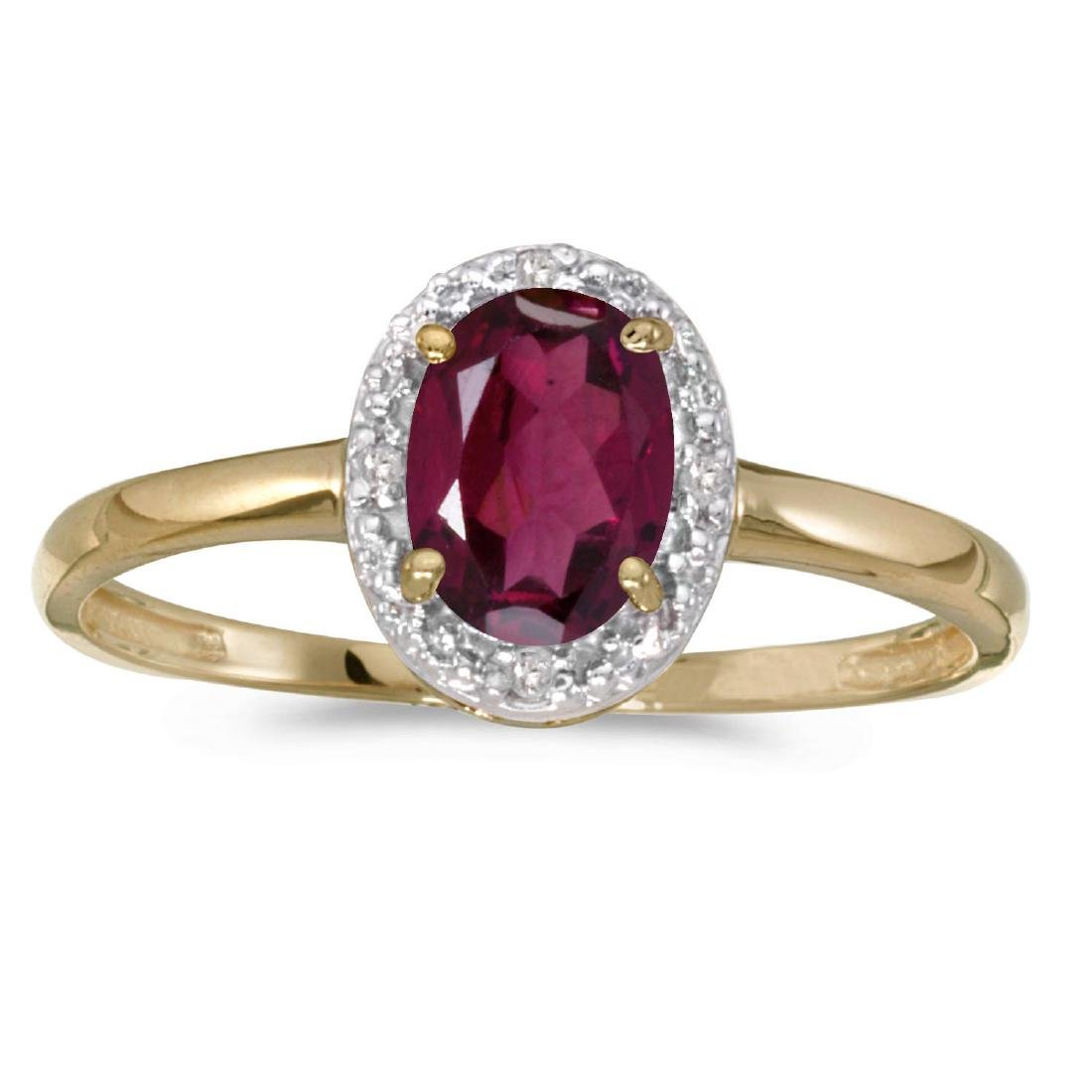 Certified 10k Yellow Gold Oval Rhodolite Garnet And Dia