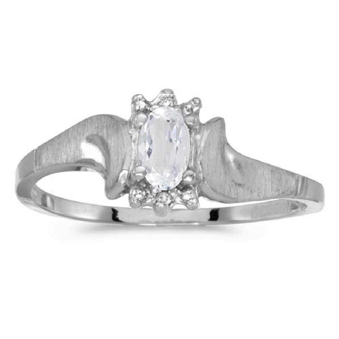 Certified 10k White Gold Oval White Topaz And Diamond S