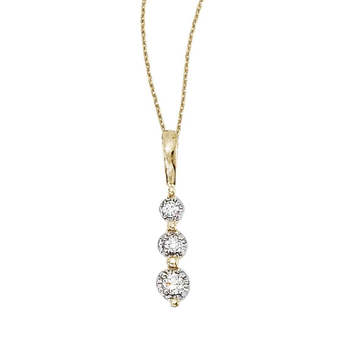 Certified 14k Yellow Gold 3 Stone Diamond Drop Pendant