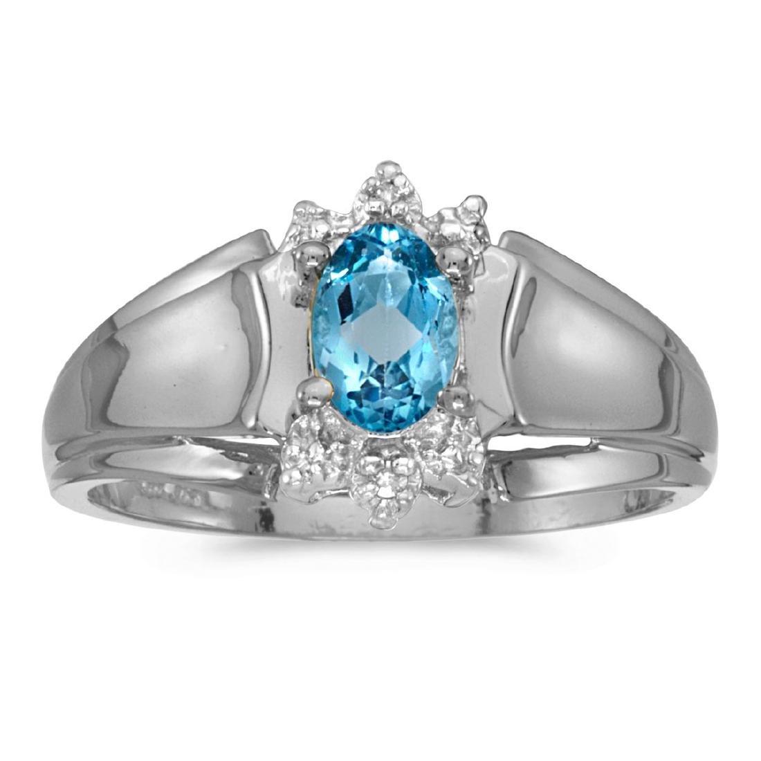 Certified 14k White Gold Oval Blue Topaz And Diamond Ri