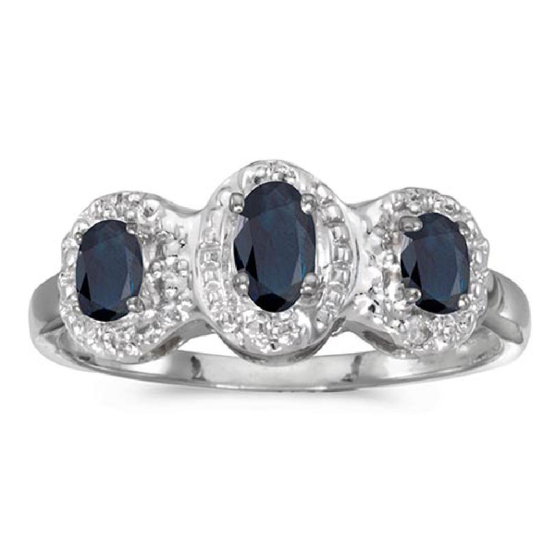 Certified 14k White Gold Oval Sapphire And Diamond Thre