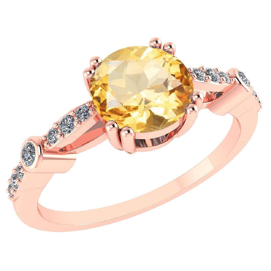 Certified .88 Ctw Genuine Citrine And Diamond 14K Rose