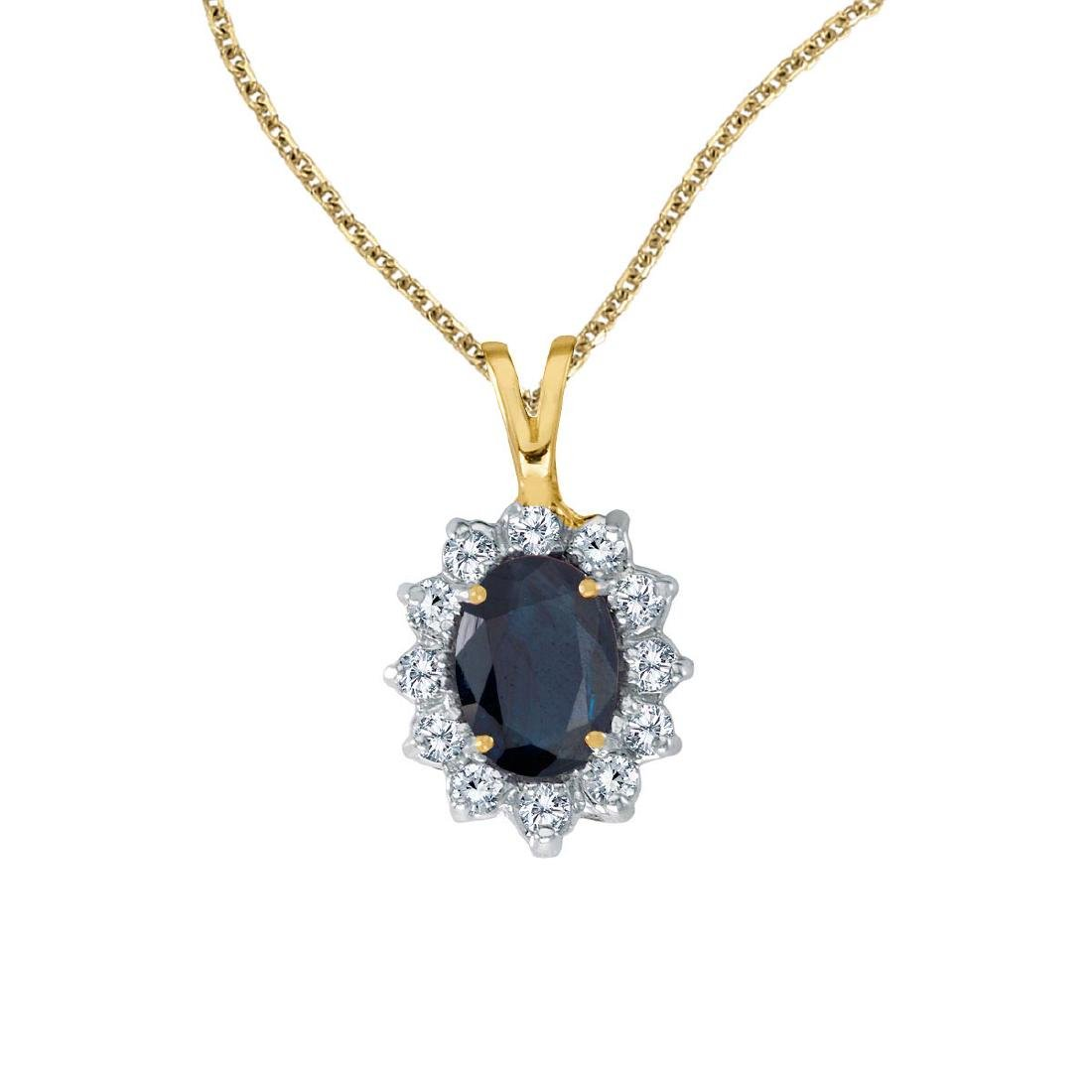 Certified 14k Yellow Gold Oval Sapphire Pendant with Di