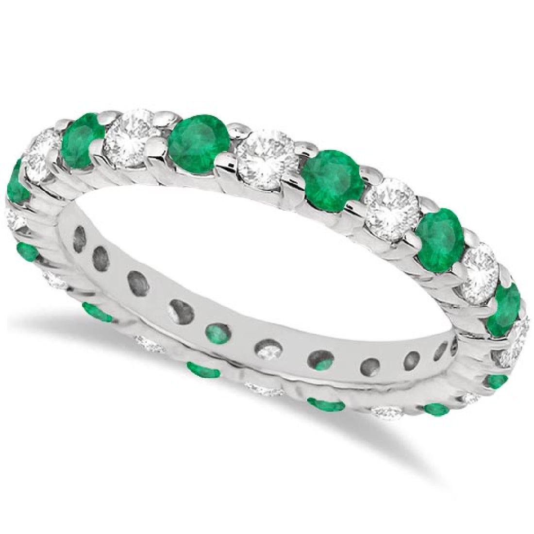 Eternity Diamond and Emerald Ring Band 14k White Gold (