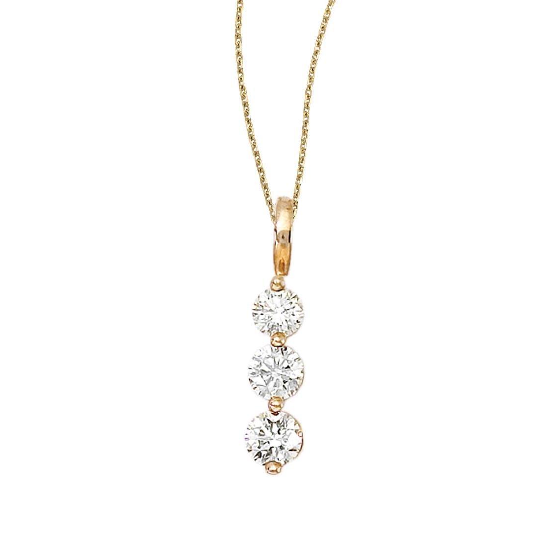Certi.14k Yellow Gold 3 Stone .75ctw Diamond Drop Pend