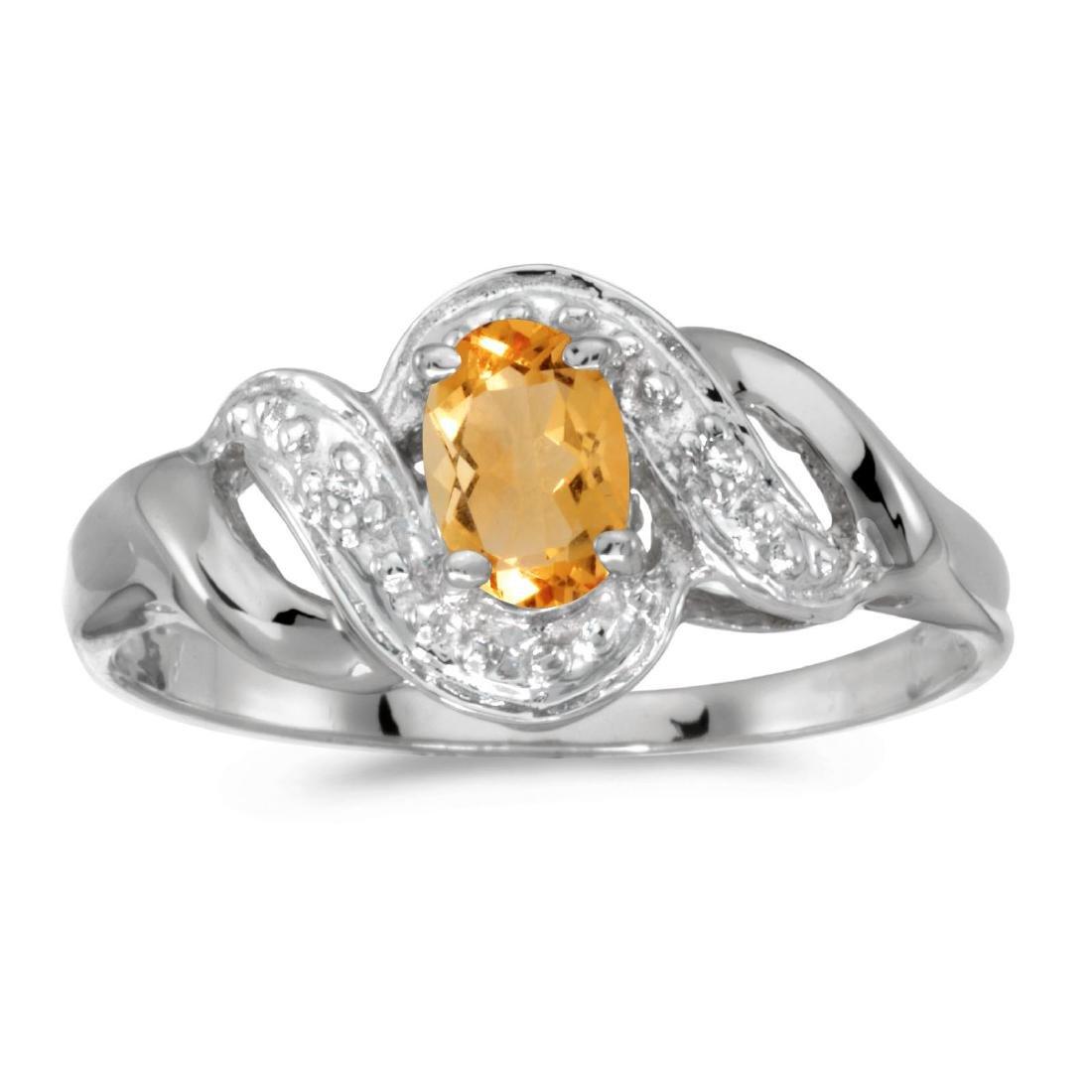 Certified 14k White Gold Oval Citrine And Diamond Swirl