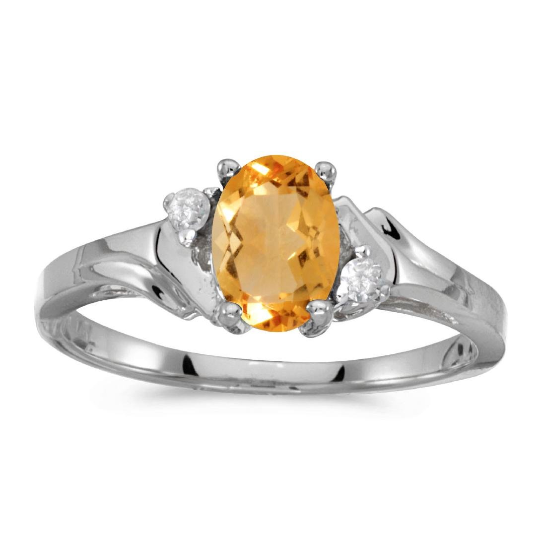 Certified 14k White Gold Oval Citrine And Diamond Ring