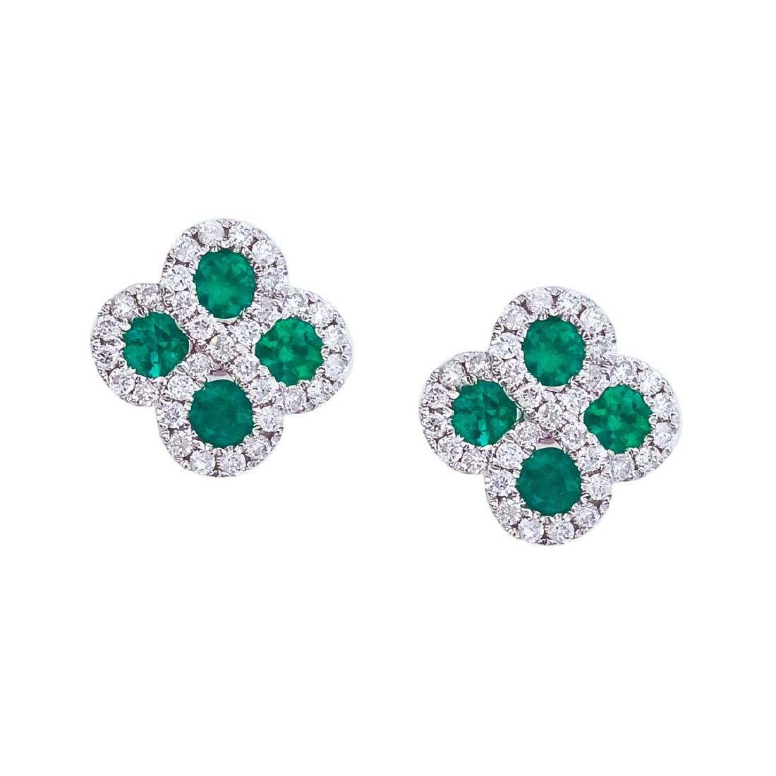 Certified 14k White Gold Emerald and .26 ct Diamond Clo