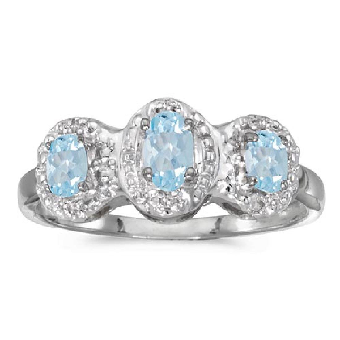 Certified 14k White Gold Oval Aquamarine And Diamond Th