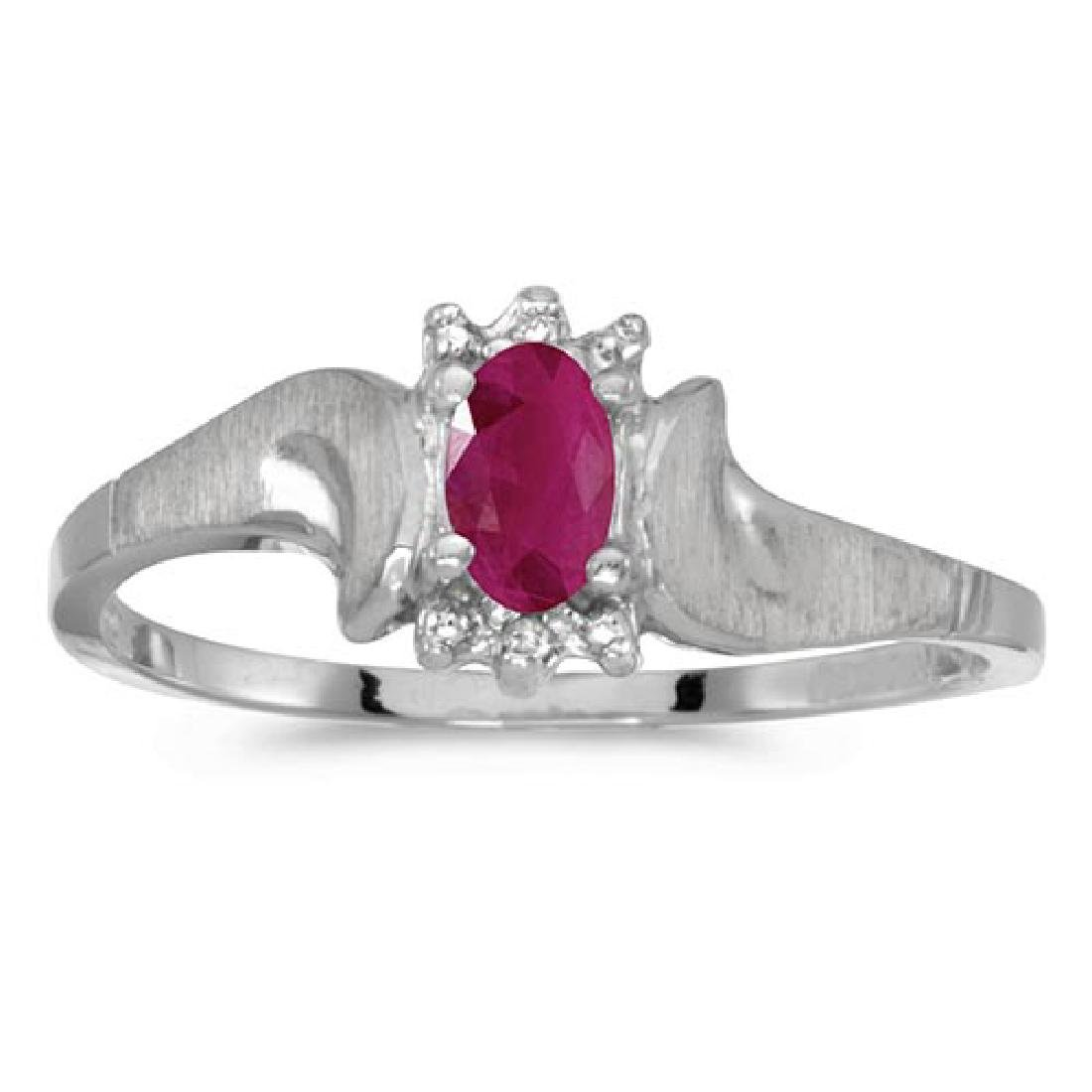 Certified 10k White Gold Oval Ruby And Diamond Satin Fi
