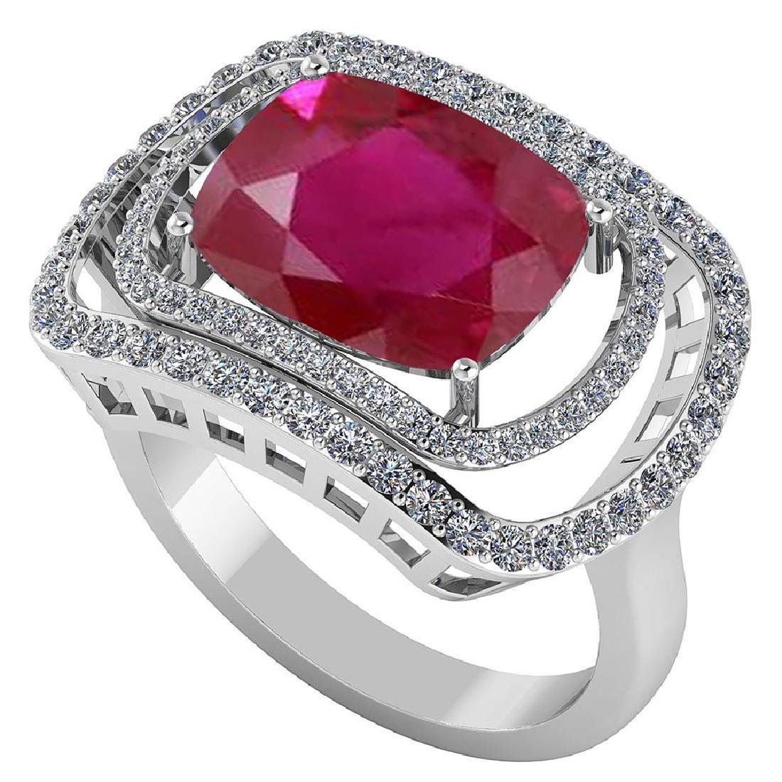 Certified 4.44 CTW Genuine Ruby And Diamond 14K White G