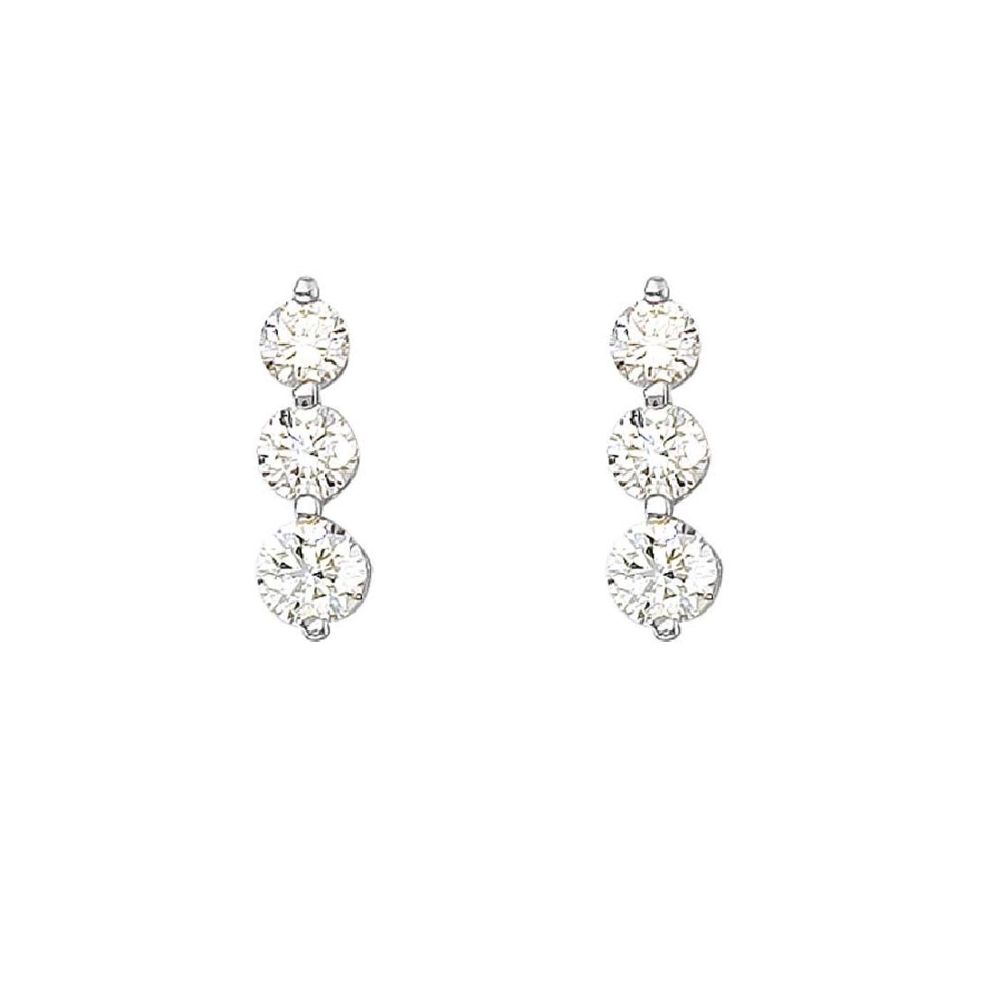 Certified 14k White Gold 1.50 ct 3 Stone Diamond Earrin