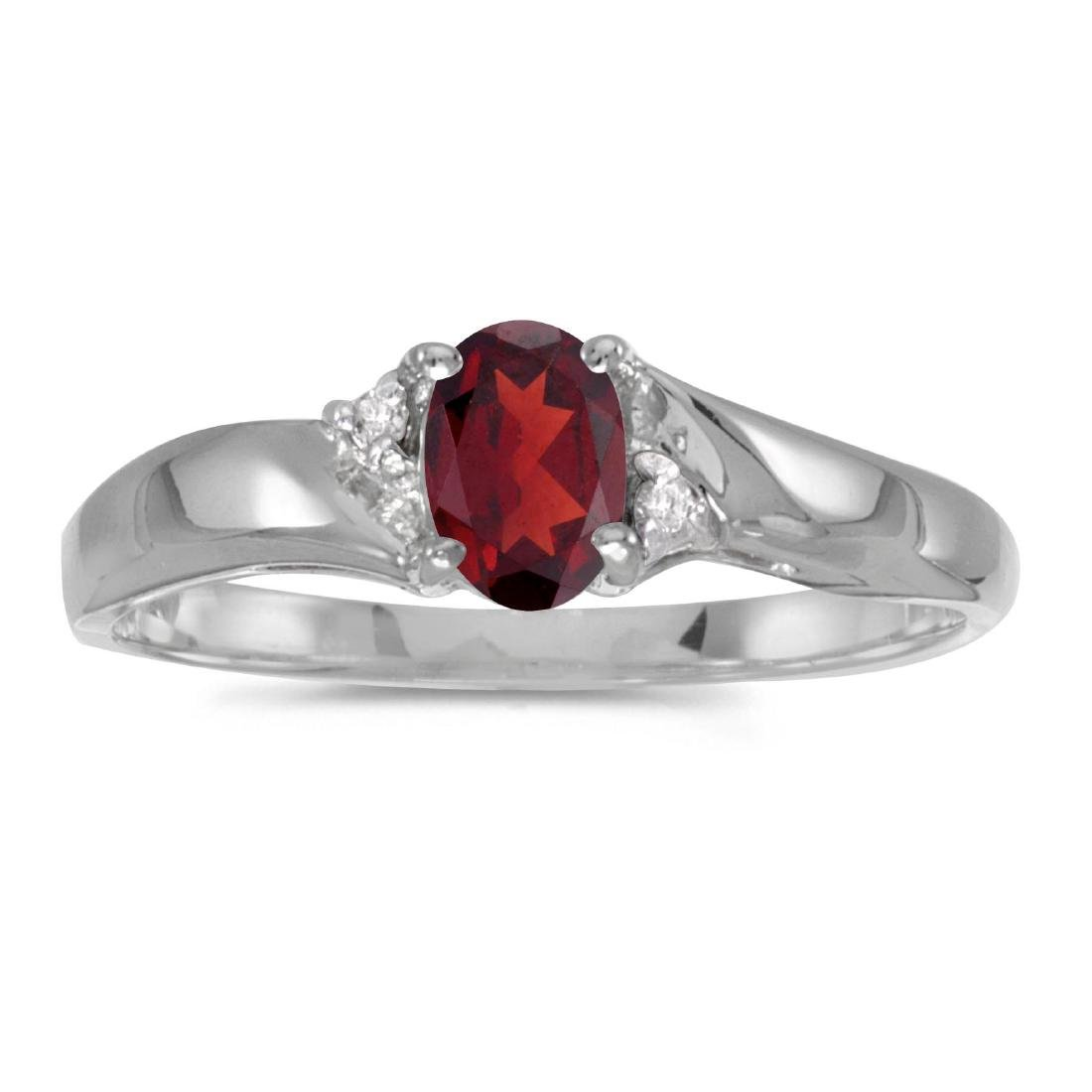 Certified 14k White Gold Oval Garnet And Diamond Ring 0