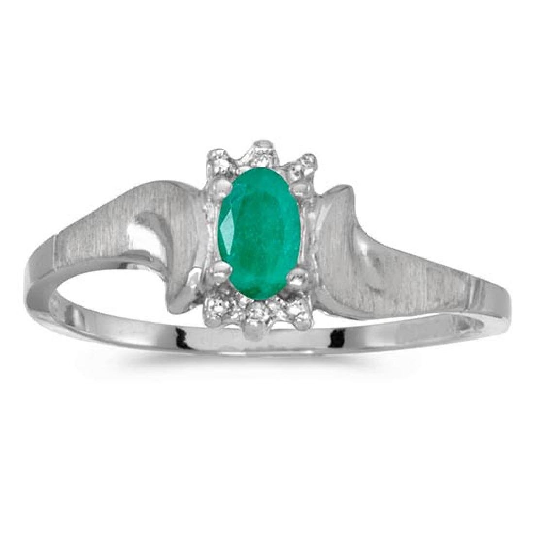 Certified 10k White Gold Oval Emerald And Diamond Satin