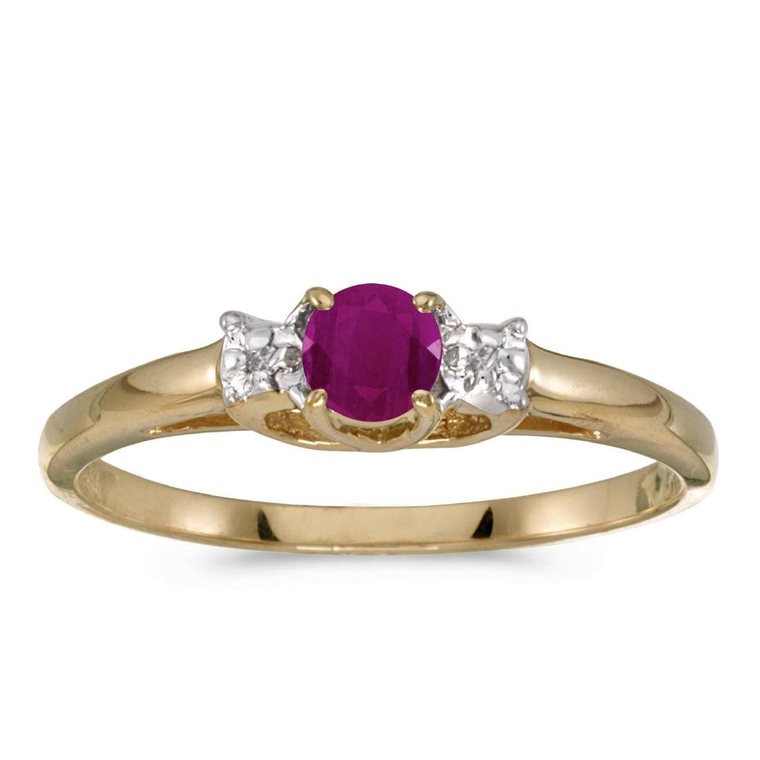 Certified 14k Yellow Gold Round Ruby And Diamond Ring 0