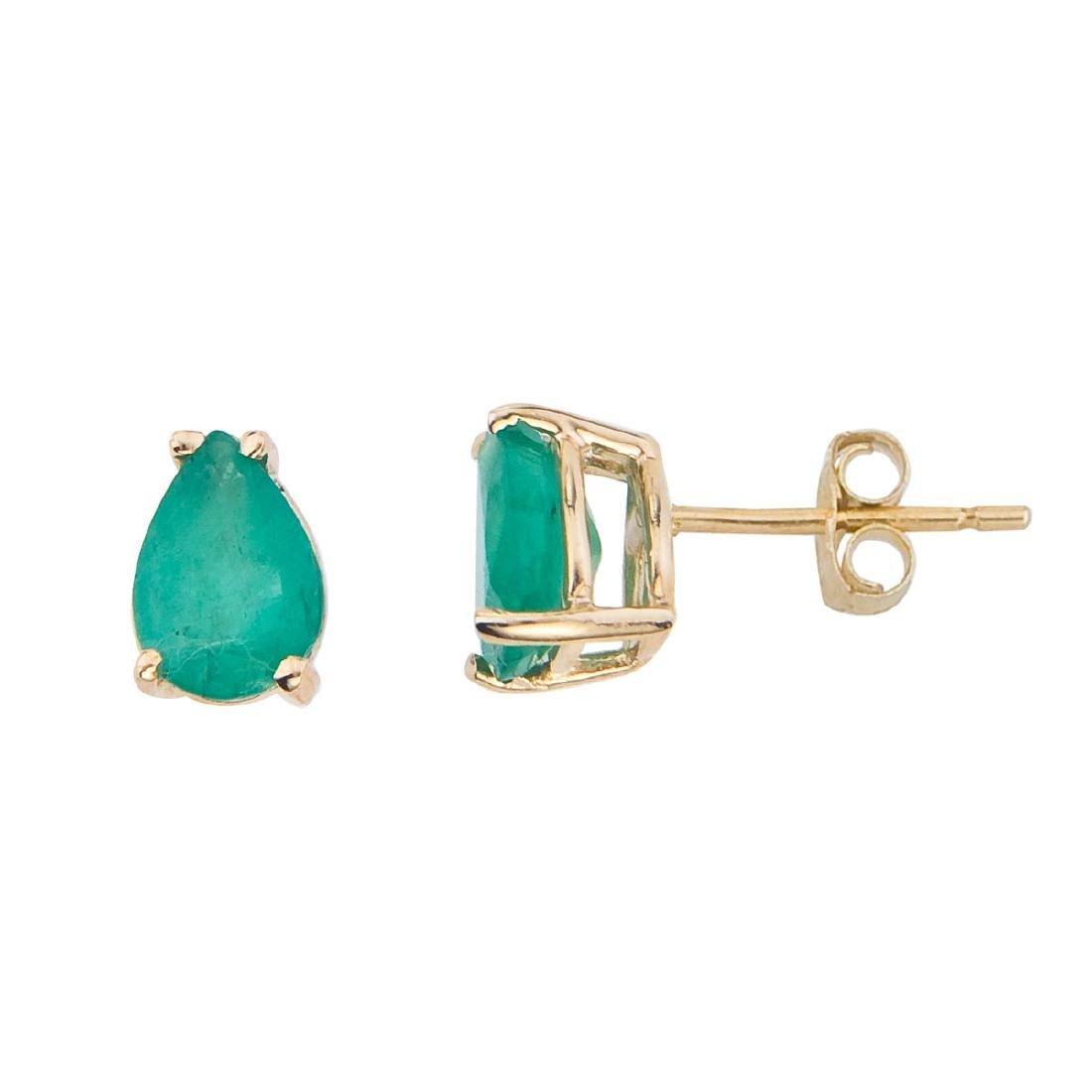 Certified 14k Yellow Gold Pear Shaped Emerald Earrings
