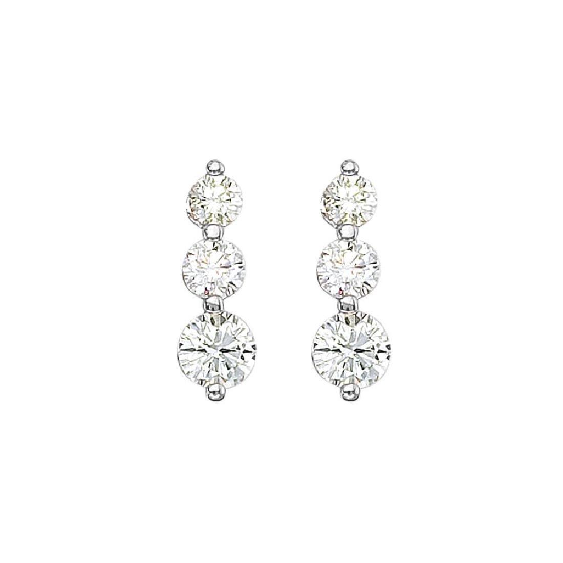 Certified 14k White Gold 2 ct 3 Stone Diamond Earring