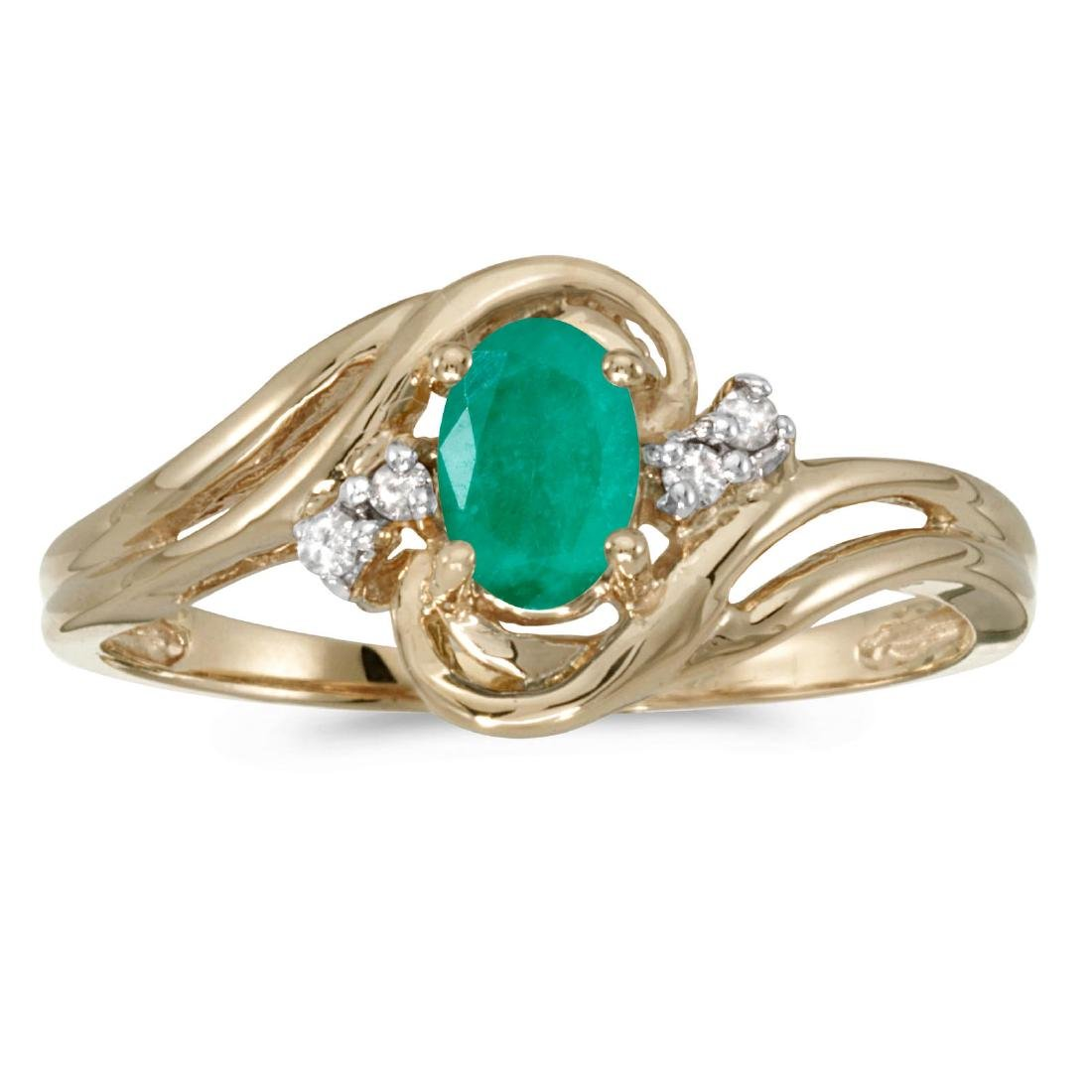 Certified 14k Yellow Gold Oval Emerald And Diamond Ring