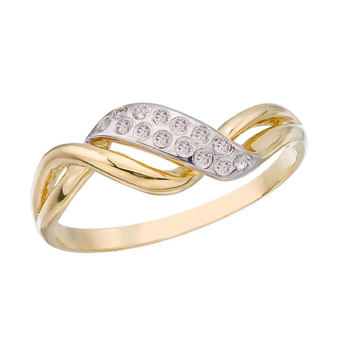 Certified 14K Yellow Gold and Diamond Promise Ring 0.07