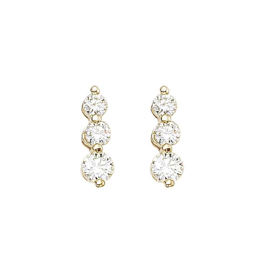 Certified 14k Yellow Gold 1 ct 3 Stone Diamond Earring