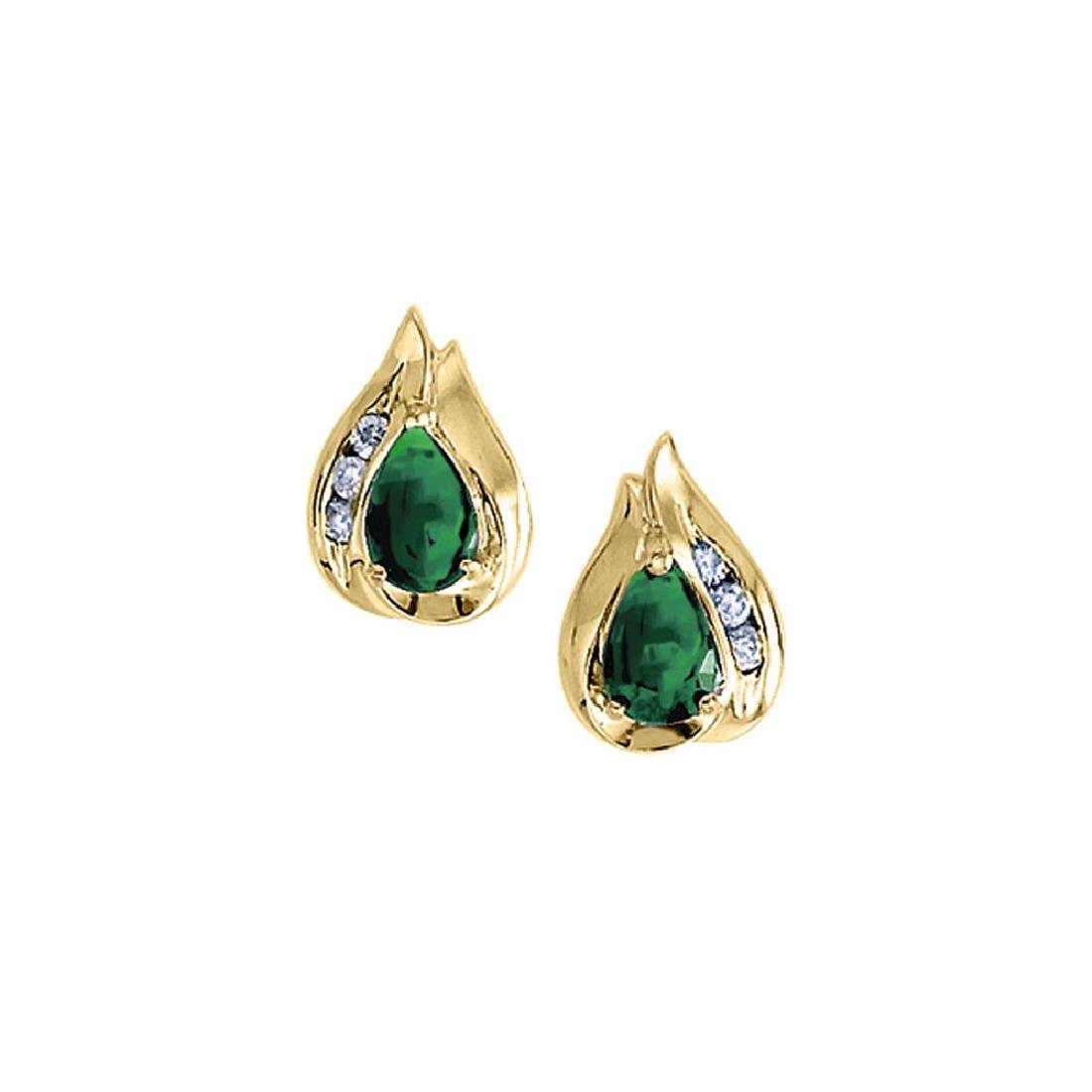 Certified 14k Yellow Gold Pear Emerald And Diamond Earr