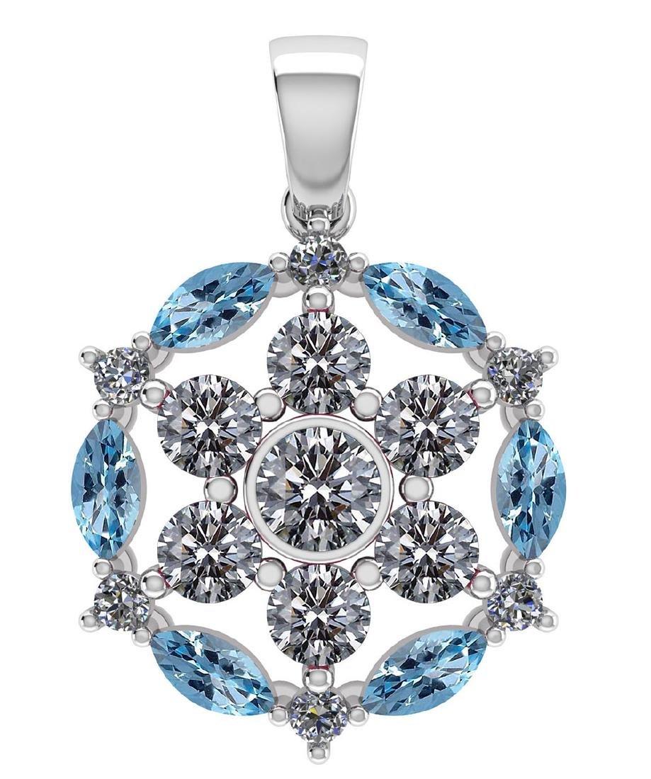 Certified 1.30 CTW Genuine Aquamarine And Diamond 14K W